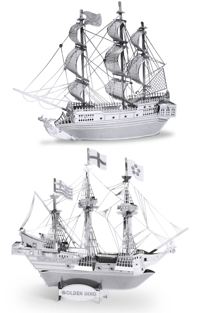 Metal Earth 3D Laser Cut Models Black Pearl Ship AND Golden Hind Ship SET OF 2
