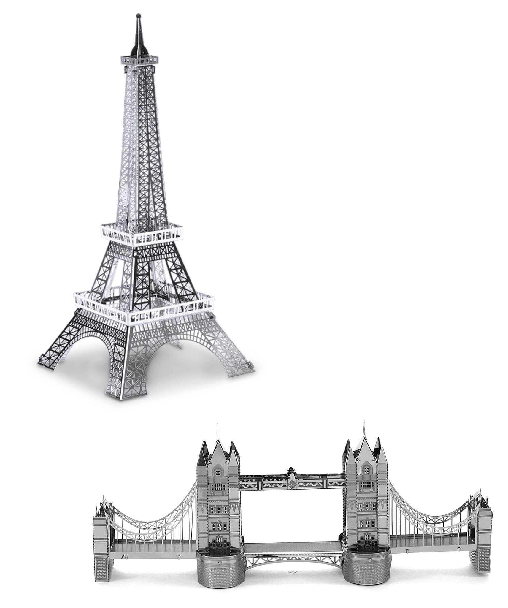 Metal Earth 3D Laser Cut Models Eiffel Tower AND London Tower Bridge SET OF 2