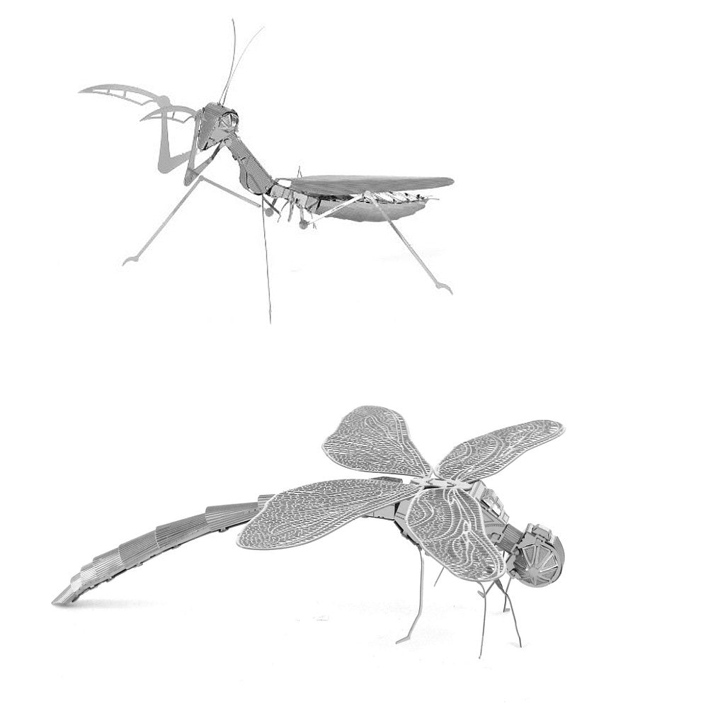 Metal Earth 3D Laser Cut Steel Models - Praying Mantis AND Dragonfly = SET OF 2