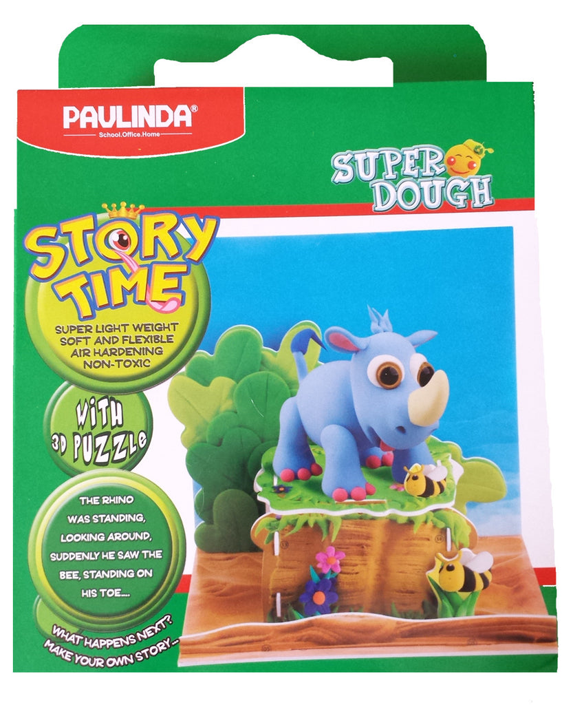 Paulinda Super Dough Story Time Modeling Kit Rhinoceros with Bees and Display