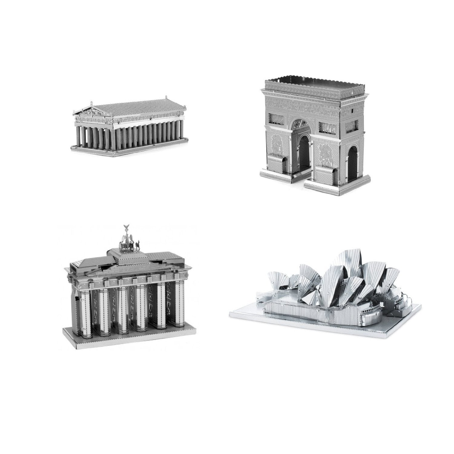 Metal Earth Models Kits SET of 4: Parthenon - Arc de Triomphe - Brandenburg Gate - Sydney Opera House