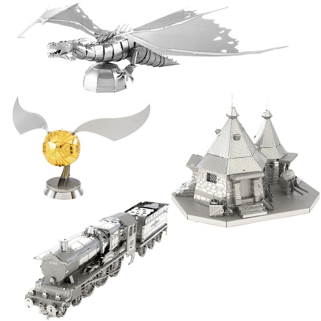 Metal Earth 3D Metal Model Kits Harry Potter Set of 4 Hogwarts Express Train Hagrids Hut Golden Snitch Gringotts Dragon