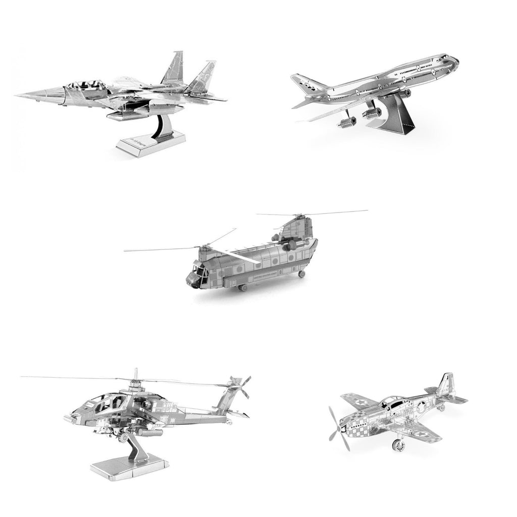 Metal Earth Model Kits Boeing Set of 5: P-51 Mustang + Boeing 747 + F-15 Eagle + AH-64 Apache + CH-47 Chinook