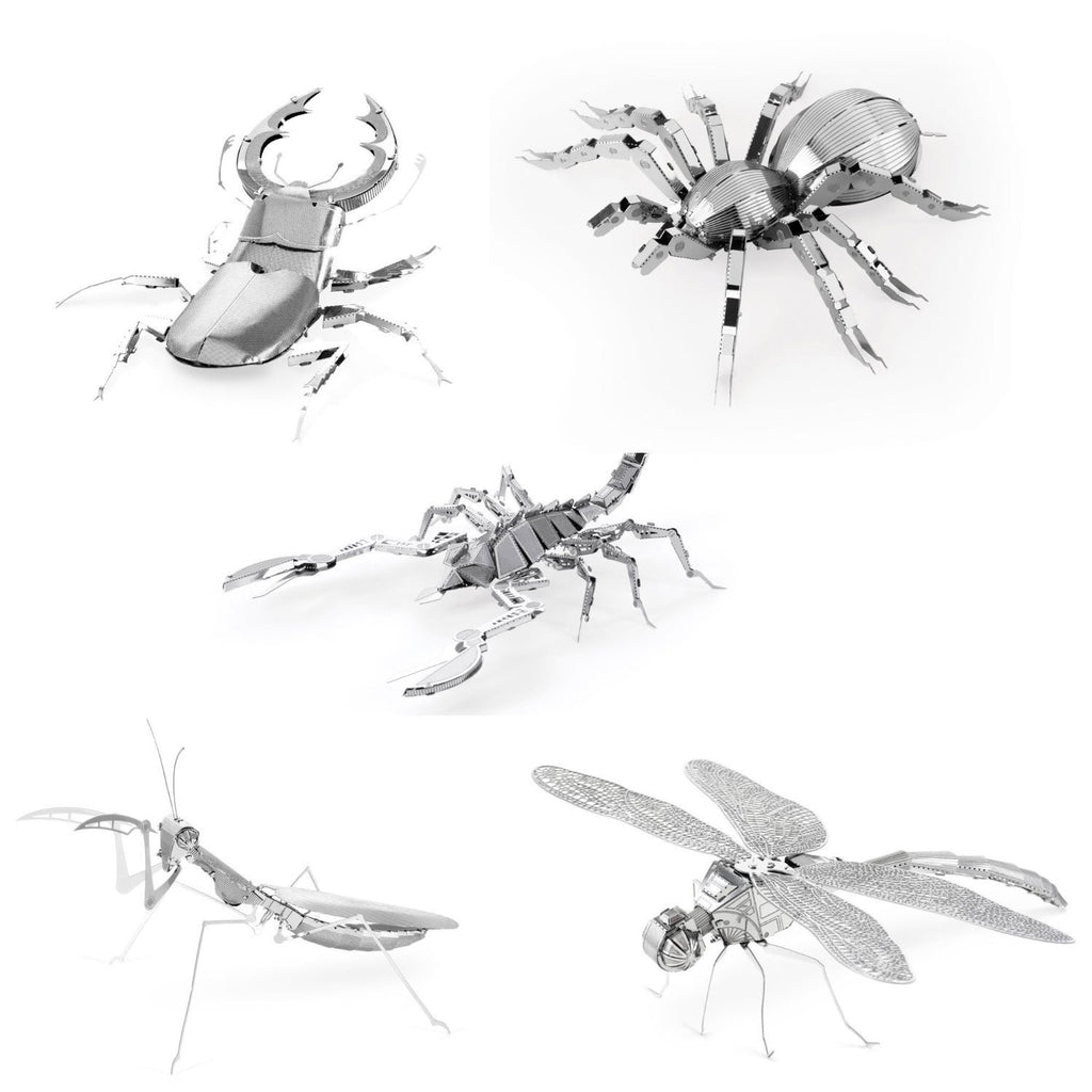 Metal Earth 3D Laser Cut Models Set of 5 Bugs: Scorpion, Stag Beetle, Tarantula, Praying Mantis, & Dragonfly