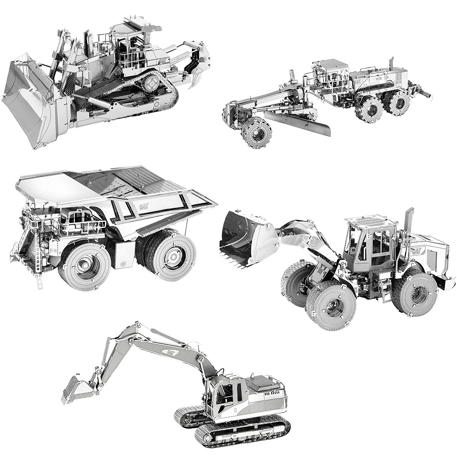 Metal Earth CAT 3D Metal Model Kit Set of 5: Motor Grader, Excavator, Wheel Loader, Mining Truck, Dozer