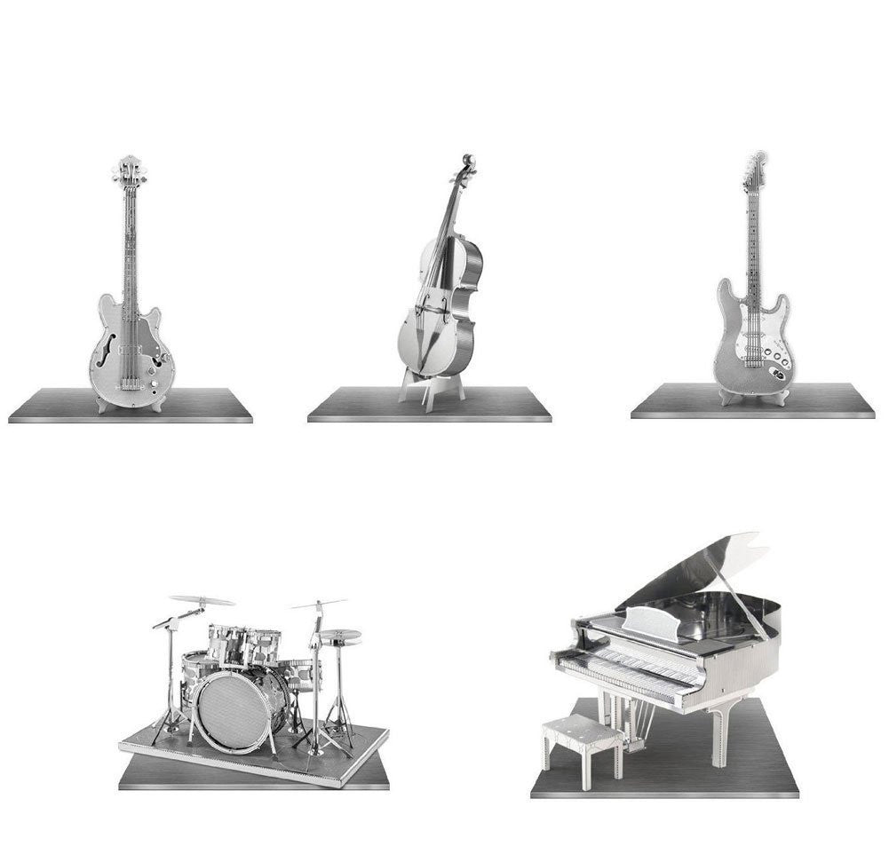 Metal Earth Model 3D Laser Cut Kits Grand Piano Bass Fiddle Drum Set Electric Bass AND Lead Guitar - Music Set of 5
