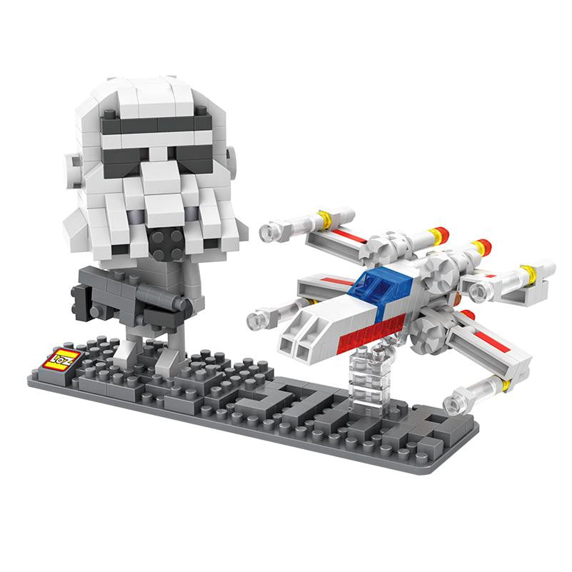 LOZ Diamond Blocks Star Wars Gift Series Nano Block 360 Piece Building Set of 2 - Storm Trooper + X-Wing