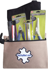 3D Model Building Tool Kit Includes Pliers, Flush Cutter, Tweezers, Mandrel, Building Surface and Khaki Carry Pouch Bag