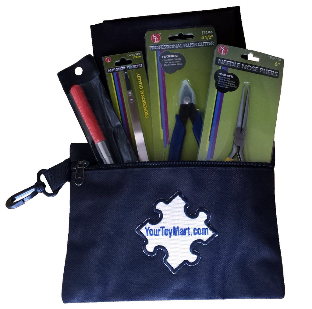 3D Model Building Tool Kit Includes Pliers, Flush Cutter, Tweezers, Mandrel, Building Surface and Black Carry Pouch Bag