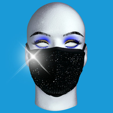 Rhinestone Mask - Black Crystal on Black