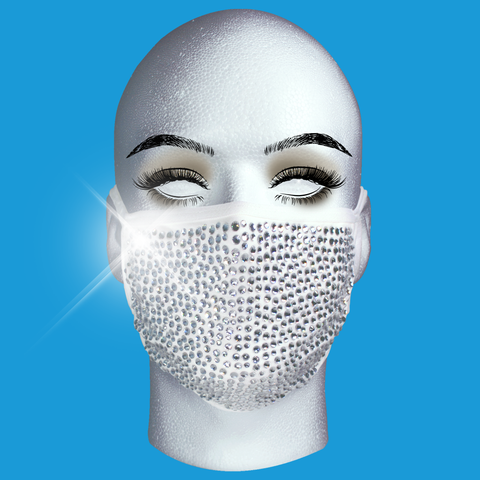 Rhinestone Mask - Silver Crystal on White