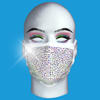 Rhinestone Mask - Rainbow Crystal on White