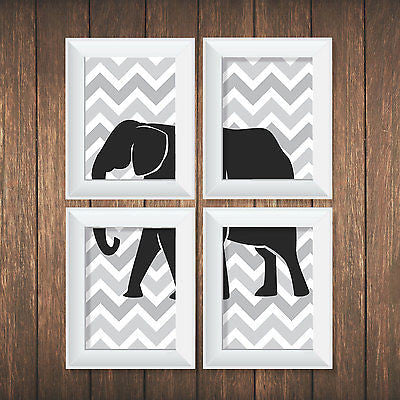 Grey Elephant 4 Prints - Decor Designs Decals