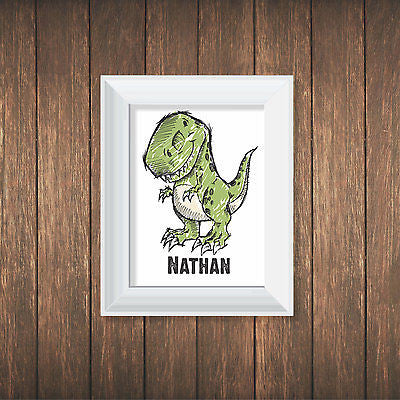 "Personalized Custom Name Dinosaur 8"" X10"" Print - Decor Designs Decals"