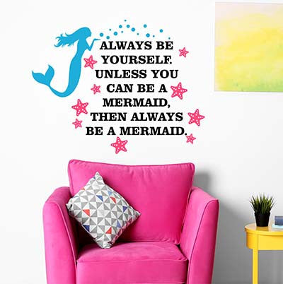 Mermaid Wall Decal - by Decor Designs Decals, Always Be a Mermaid, Mermaid Wall Decal Aquarium Bubbles Decal Mermaid Decal Girls Ocean Decal Deep Sea Wall Decal Little Mermaid Decal Mermaid Wall Art Sticker EE28 - Decor Designs Decals - 1