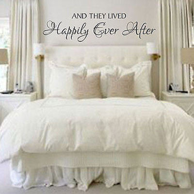 Happily Ever After - by Decor Designs Decals, Vinyl Wall Decal - Master  Bedroom Wall Decal Quote Master Bedroom Wall Art Vinyl Lettering Wedding ...