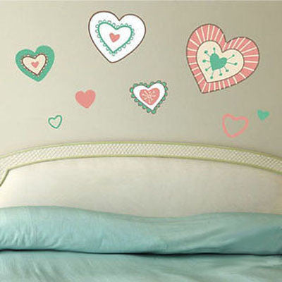 Antique Hearts Wall Decal - Decor Designs Decals - 1