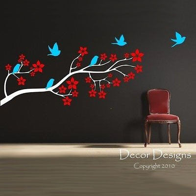 Birds on a Blossom Branch Wall Decal - Decor Designs Decals