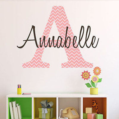 Chevron Name Wall Decal - Decor Designs Decals