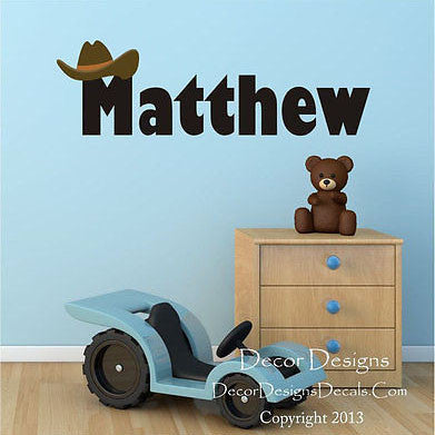 Cowboy Name Wall Decal - Decor Designs Decals