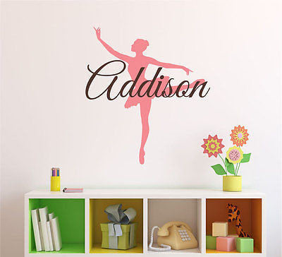 ballerina name wall decal