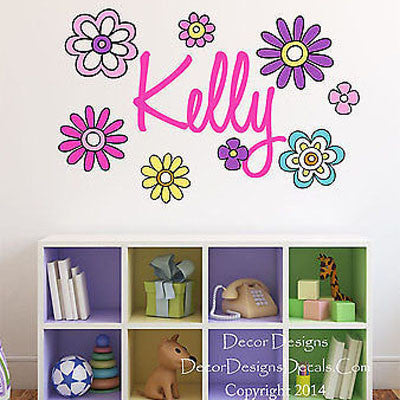 Custom Name Flowers Printed Fabric Repositionable Wall Decal Sticker - Decor Designs Decals