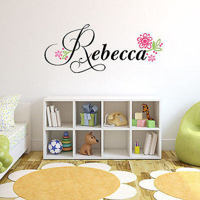 Flowers Name Wall Decal - Decor Designs Decals