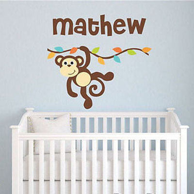 Monkey Branch Name Wall Decal - Decor Designs Decals