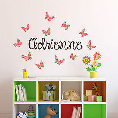 Pattern Butterflies Name Wall Decal - Decor Designs Decals