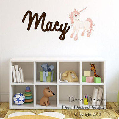 Unicorn Name Wall Decal - Decor Designs Decals