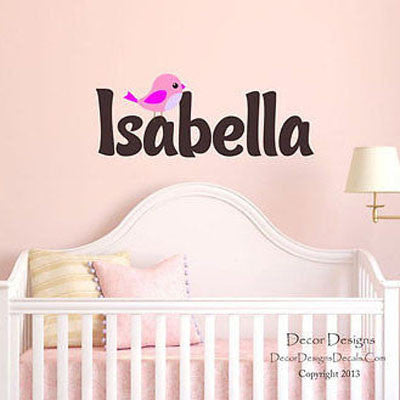 Girl's Birdie Name Wall Decal - Decor Designs Decals