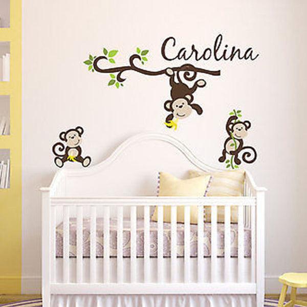 Monkey Name Wall Decal - Decor Designs Decals