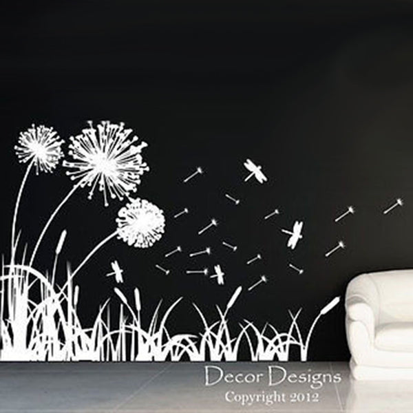 Dandelions Dragonflies and Cattails Vinyl Wall Decal Sticker - Decor Designs Decals