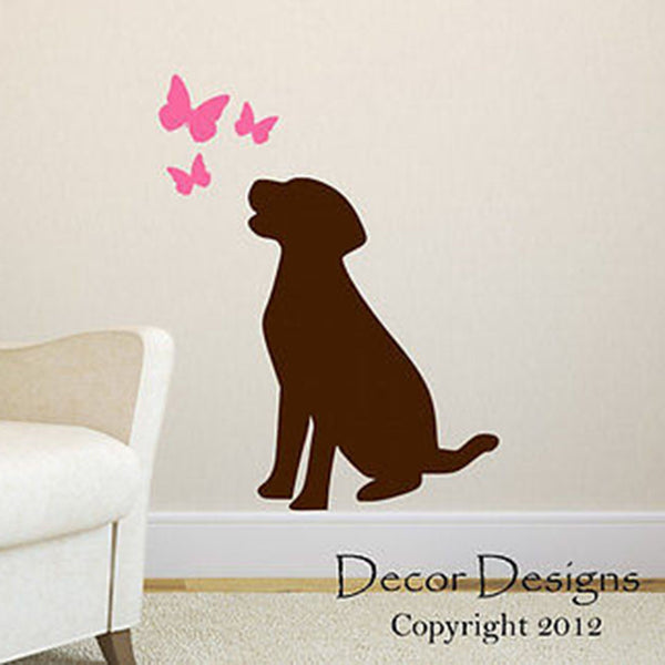 Dog With Butterflies Wall Decal - Decor Designs Decals