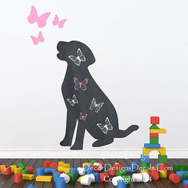 Dog with Butterflies Chalkboard Decal - Decor Designs Decals