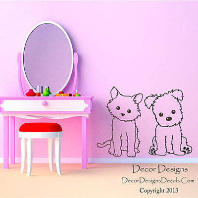 Dog and Cat Pals Vinyl Wall Decal Stickers - Decor Designs Decals