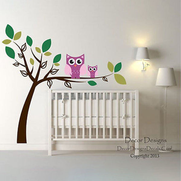 Double Owl Tree Vinyl Wall Decal Stickers - Decor Designs Decals