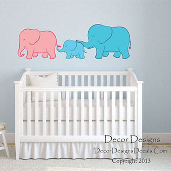 Elephant Family Little Boy Printed Fabric Repositionable Wall Decal - Decor Designs Decals