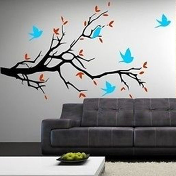 Extra Large Birds and Blossoms Vinyl Wall Decal Stickers - Decor Designs Decals