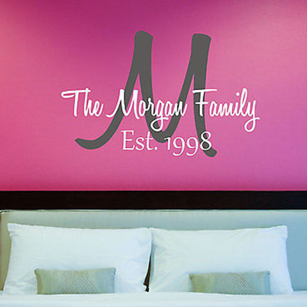 Family Initial and Established Date Personalized Family Vinyl Wall Decal - Decor Designs Decals