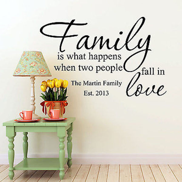 Family Is What Happens When Custom Family Name Date Quote Vinyl Wall Decal - Decor Designs Decals