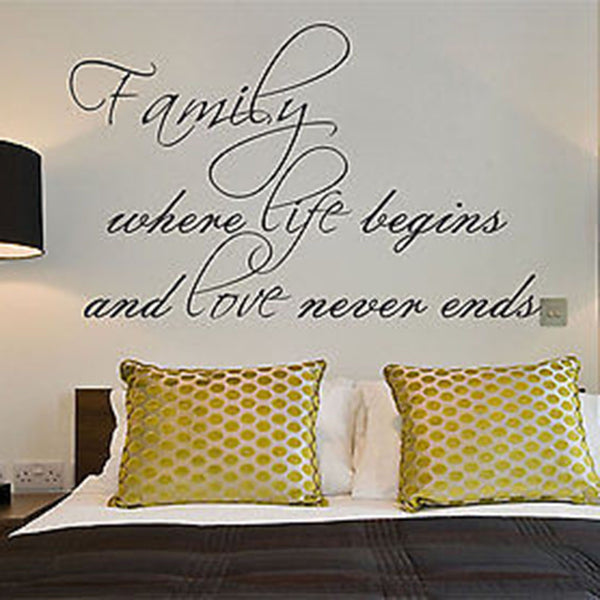 Family Where Life Begins and Love Never Ends Quote Vinyl Wall Decal - Decor Designs Decals