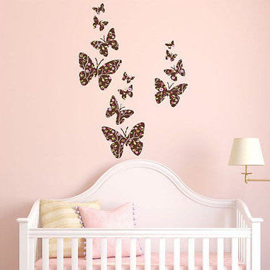 Flight of the Butterflies Branch Fabric Repositionable Wall Decal - Decor Designs Decals