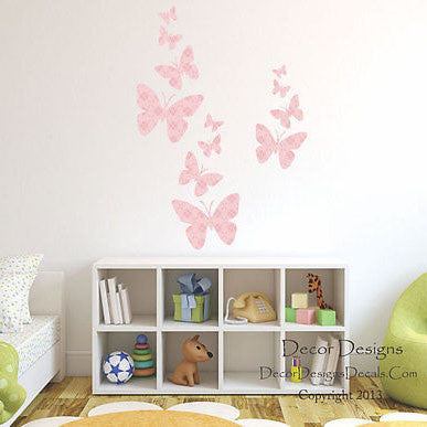 Flight of the Butterflies Pink Fabric Repositionable Wall Decal - Decor Designs Decals