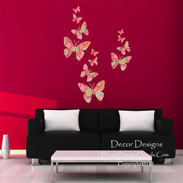 Flight of the Butterflies Retro Plants Fabric Repositionable Wall Decal - Decor Designs Decals