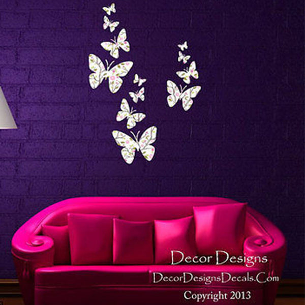 Flight of the Butterflies White Plants Fabric Repositionable Wall Decal - Decor Designs Decals