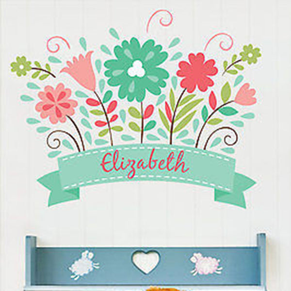 Flower Bloom Custom Name Printed Fabric Repositionable Wall Decal - Decor Designs Decals