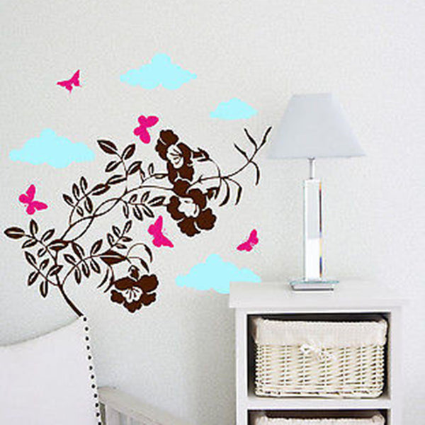 Flower Branch Vinyl Wall Decal - Decor Designs Decals