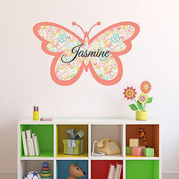 Flower Butterfly Custom Name Printed Fabric Repositionable Wall Decal - Decor Designs Decals