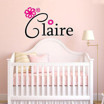 Flower Custom Name Vinyl Wall Decal Sticker - Decor Designs Decals